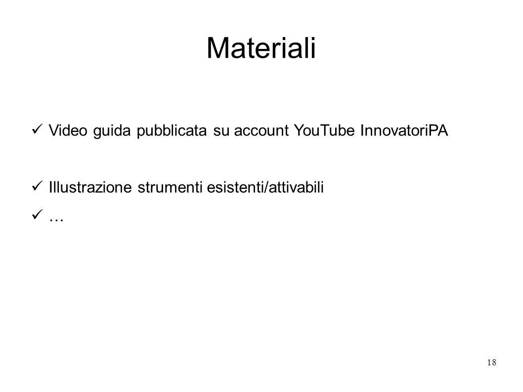 Materiali 18 Video guida pubblicata su account YouTube InnovatoriPA Illustrazione strumenti esistenti/attivabili …
