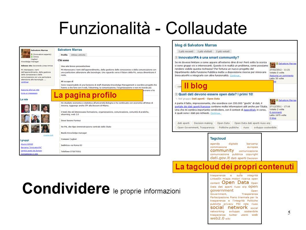 Funzionalità - Collaudate 5 La pagina profilo Condividere le proprie informazioni Il blog La tagcloud dei propri contenuti