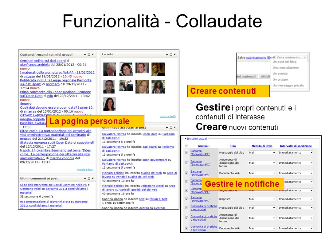 6 La pagina personale Funzionalità - Collaudate Gestire i propri contenuti e i contenuti di interesse Creare nuovi contenuti Creare contenuti Gestire