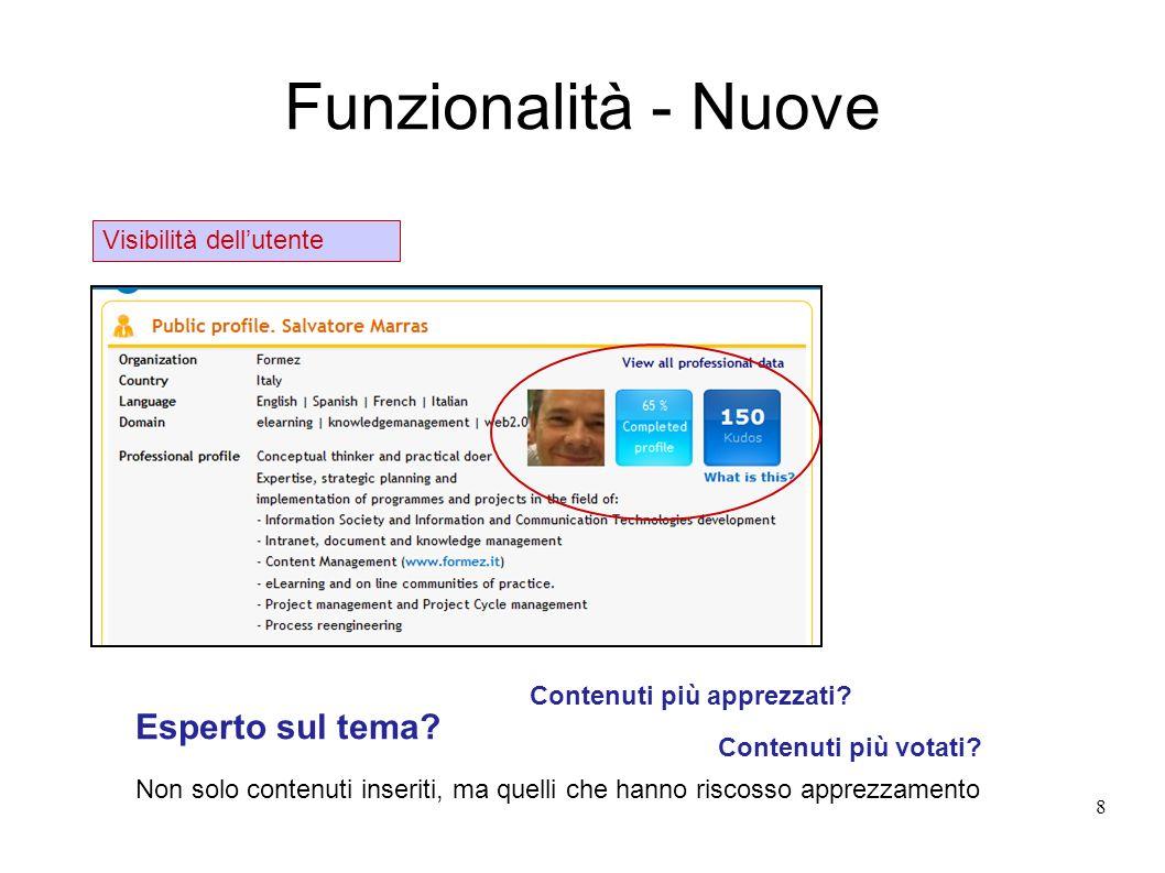 Funzionalità - Nuove 8 Visibilità dellutente Esperto sul tema? Contenuti più apprezzati? Non solo contenuti inseriti, ma quelli che hanno riscosso app