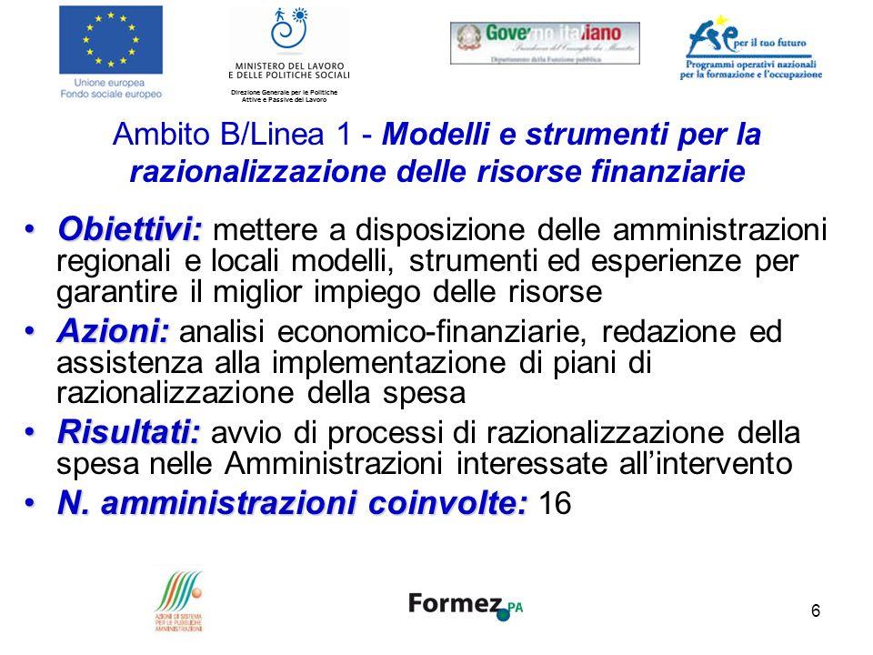 Direzione Generale per le Politiche Attive e Passive del Lavoro 7 Ambito B/Linea 2 - Modelli e strumenti per il miglioramento dei processi di gestione del personale Obiettivi:Obiettivi: migliorare i sistemi di valutazione delle performance nelle amministrazioni.