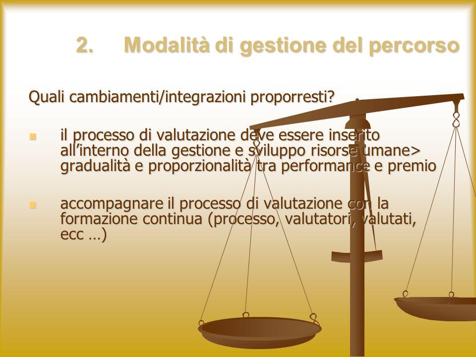 2.Modalità di gestione del percorso Quali cambiamenti/integrazioni proporresti.