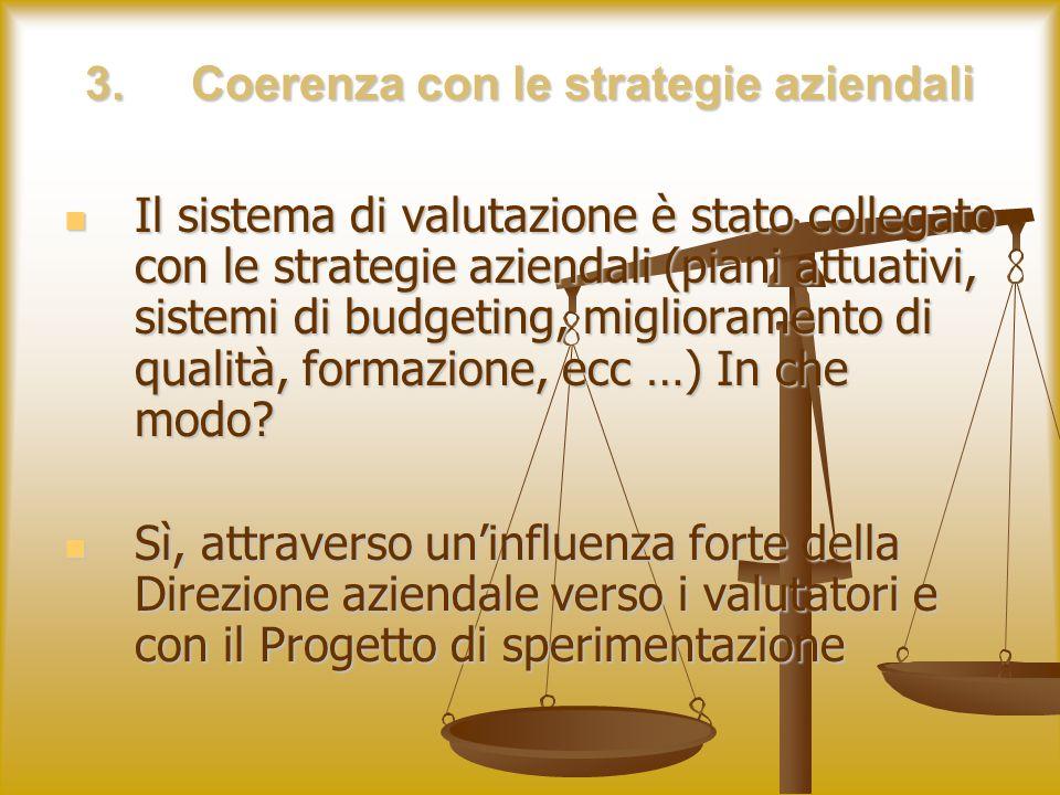 3.Coerenza con le strategie aziendali Il sistema di valutazione è stato collegato con le strategie aziendali (piani attuativi, sistemi di budgeting, miglioramento di qualità, formazione, ecc …) In che modo.
