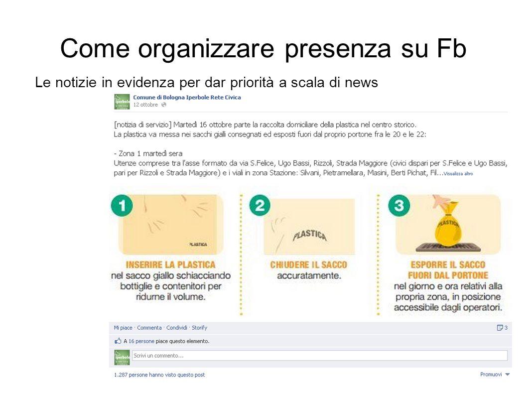 Come organizzare presenza su Fb Le notizie in evidenza per dar priorità a scala di news