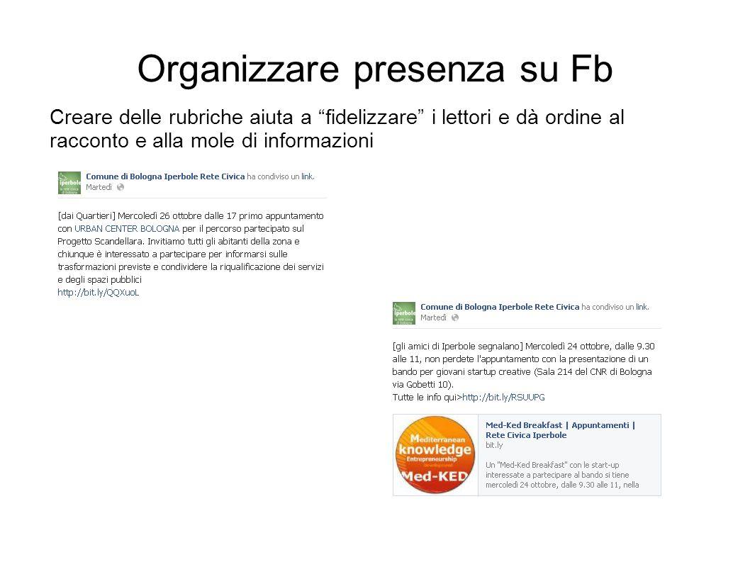 Organizzare presenza su Fb Creare delle rubriche aiuta a fidelizzare i lettori e dà ordine al racconto e alla mole di informazioni