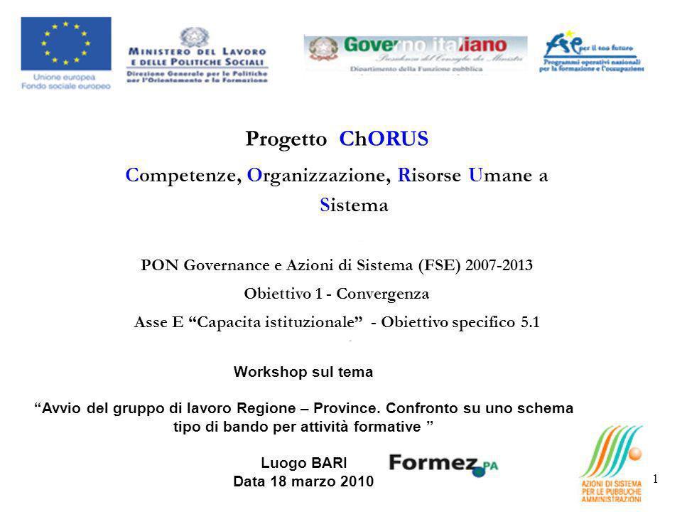 Progetto ChORUS Competenze, Organizzazione, Risorse Umane a Sistema PON Governance e Azioni di Sistema (FSE) 2007-2013 Obiettivo 1 - Convergenza Asse E Capacita istituzionale - Obiettivo specifico 5.1 Workshop sul tema Avvio del gruppo di lavoro Regione – Province.