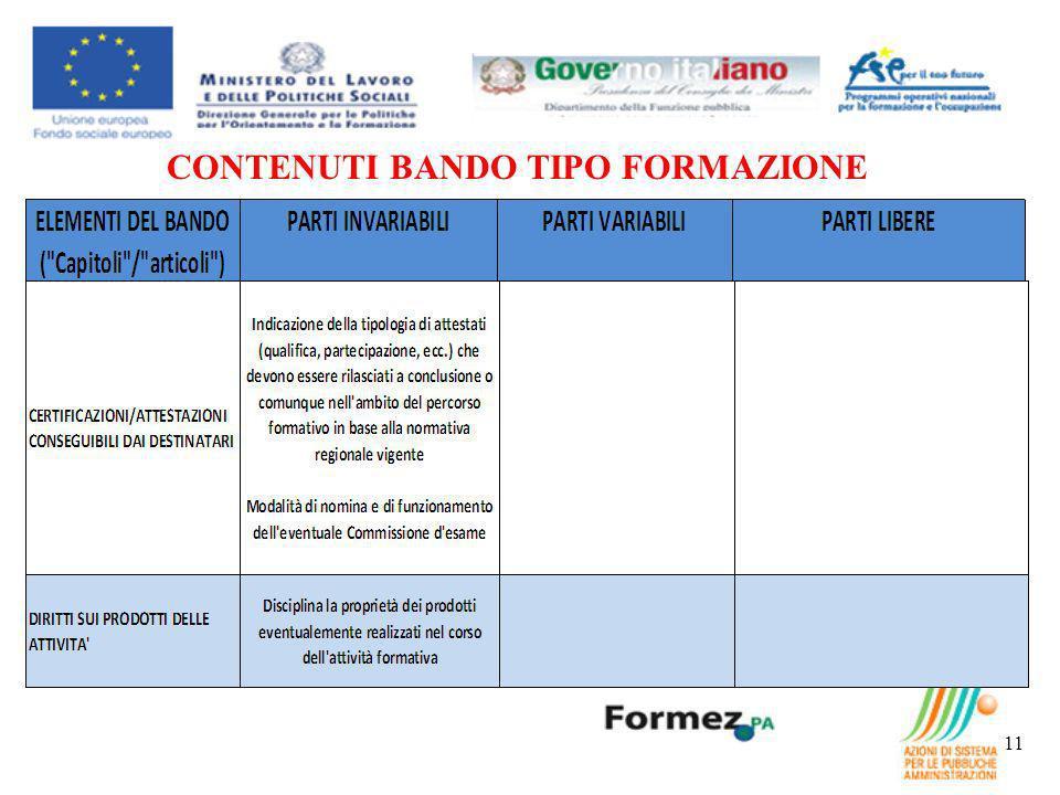 CONTENUTI BANDO TIPO FORMAZIONE 11