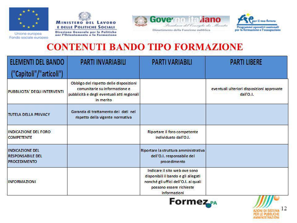CONTENUTI BANDO TIPO FORMAZIONE 12