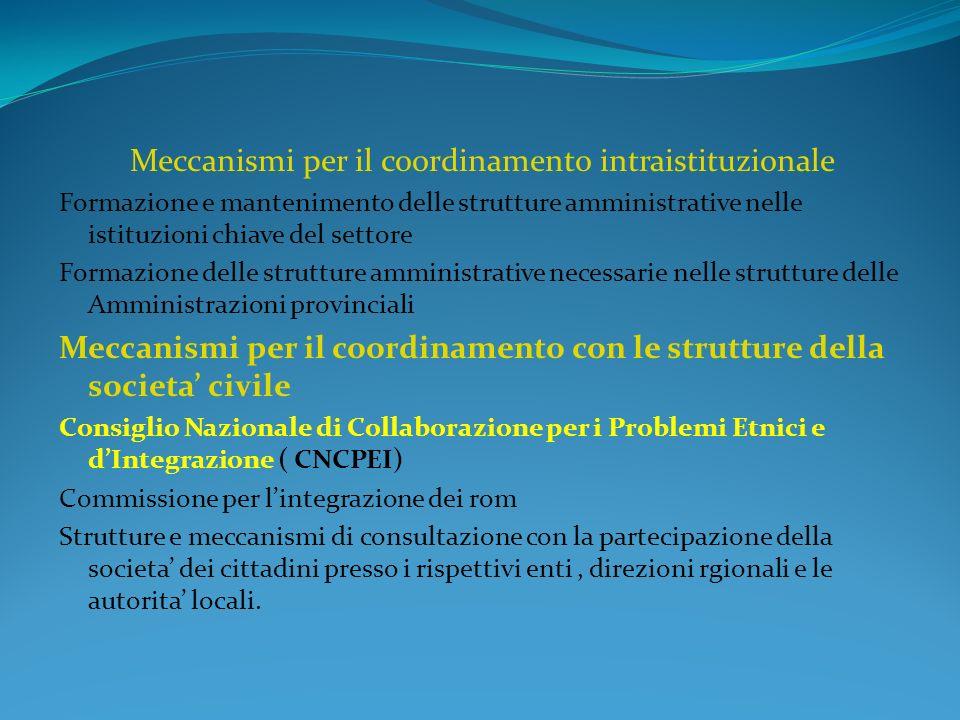 Meccanismi per il coordinamento intraistituzionale Formazione e mantenimento delle strutture amministrative nelle istituzioni chiave del settore Formazione delle strutture amministrative necessarie nelle strutture delle Amministrazioni provinciali Meccanismi per il coordinamento con le strutture della societa civile Consiglio Nazionale di Collaborazione per i Problemi Etnici e dIntegrazione ( CNCPEI) Commissione per lintegrazione dei rom Strutture e meccanismi di consultazione con la partecipazione della societa dei cittadini presso i rispettivi enti, direzioni rgionali e le autorita locali.