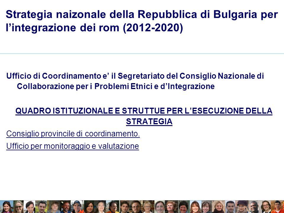 Strategia naizonale della Repubblica di Bulgaria per lintegrazione dei rom (2012-2020) Ufficio di Coordinamento e il Segretariato del Consiglio Nazionale di Collaborazione per i Problemi Etnici e dIntegrazione QUADRO ISTITUZIONALE E STRUTTUE PER LESECUZIONE DELLA STRATEGIA Consiglio provincile di coordinamento.