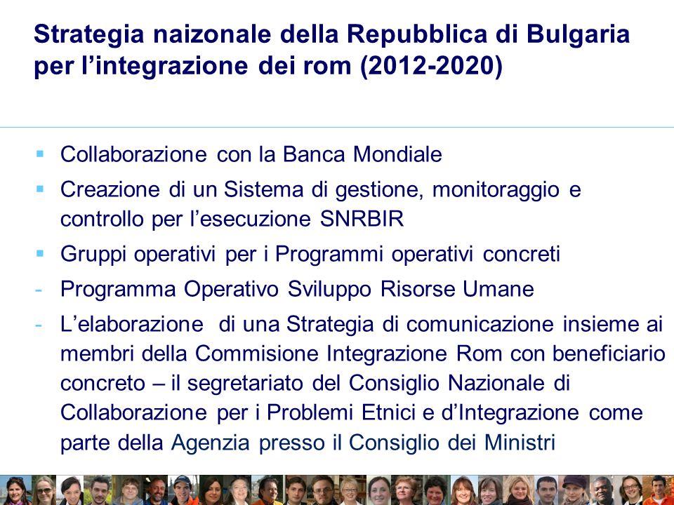 Strategia naizonale della Repubblica di Bulgaria per lintegrazione dei rom (2012-2020) Collaborazione con la Banca Mondiale Creazione di un Sistema di gestione, monitoraggio e controllo per lesecuzione SNRBIR Gruppi operativi per i Programmi operativi concreti -Programma Operativo Sviluppo Risorse Umane -Lelaborazione di una Strategia di comunicazione insieme ai membri della Commisione Integrazione Rom con beneficiario concreto – il segretariato del Consiglio Nazionale di Collaborazione per i Problemi Etnici e dIntegrazione come parte della Agenzia presso il Consiglio dei Ministri