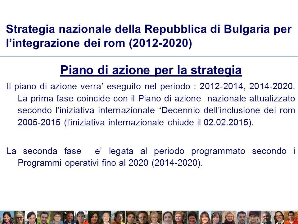 Strategia nazionale della Repubblica di Bulgaria per lintegrazione dei rom (2012-2020) Piano di azione per la strategia Il piano di azione verra eseguito nel periodo : 2012-2014, 2014-2020.
