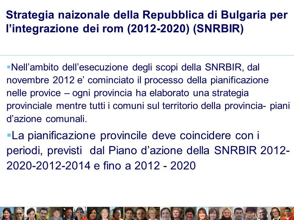 Strategia naizonale della Repubblica di Bulgaria per lintegrazione dei rom (2012-2020) (SNRBIR) Nellambito dellesecuzione degli scopi della SNRBIR, dal novembre 2012 e cominciato il processo della pianificazione nelle provice – ogni provincia ha elaborato una strategia provinciale mentre tutti i comuni sul territorio della provincia- piani dazione comunali.