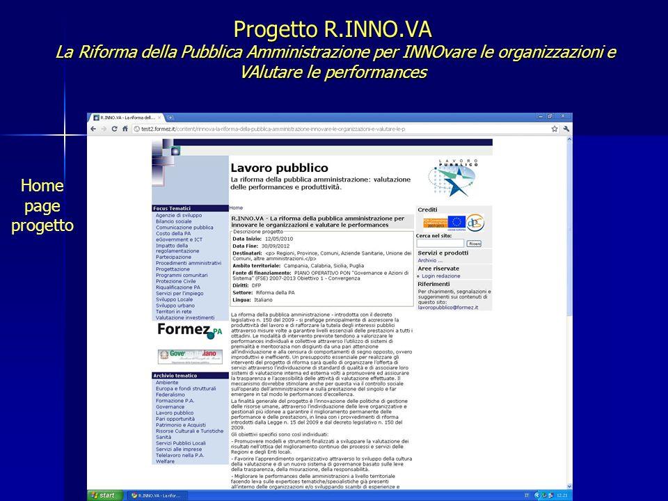 Progetto R.INNO.VA La Riforma della Pubblica Amministrazione per INNOvare le organizzazioni e VAlutare le performances Home page progetto