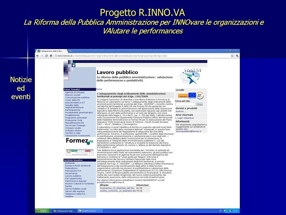 Progetto R.INNO.VA La Riforma della Pubblica Amministrazione per INNOvare le organizzazioni e VAlutare le performances Normativa pagina 1