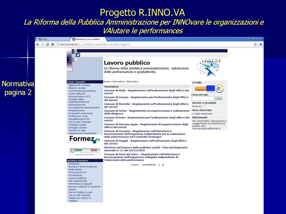 Progetto R.INNO.VA La Riforma della Pubblica Amministrazione per INNOvare le organizzazioni e VAlutare le performances Normativa pagina 2