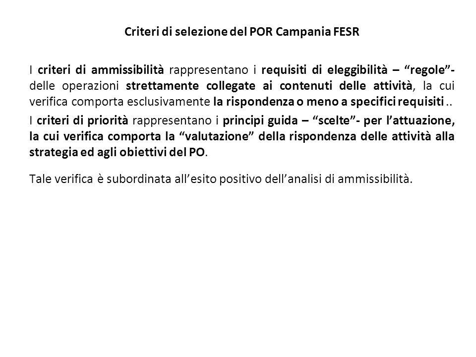 Criteri di selezione del POR Campania FESR I criteri di ammissibilità rappresentano i requisiti di eleggibilità – regole- delle operazioni strettamente collegate ai contenuti delle attività, la cui verifica comporta esclusivamente la rispondenza o meno a specifici requisiti..
