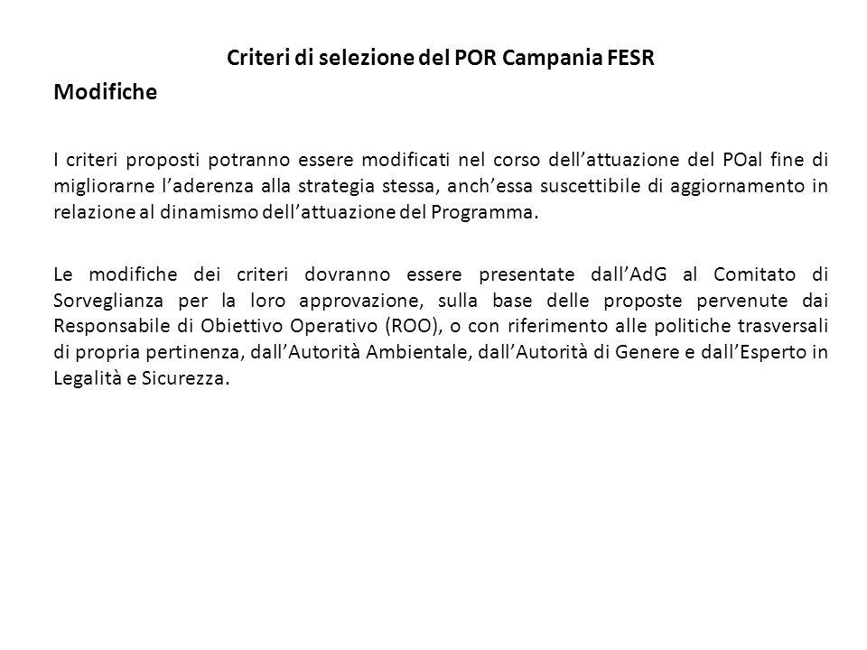Criteri di selezione del POR Campania FESR Modifiche I criteri proposti potranno essere modificati nel corso dellattuazione del POal fine di migliorarne laderenza alla strategia stessa, anchessa suscettibile di aggiornamento in relazione al dinamismo dellattuazione del Programma.
