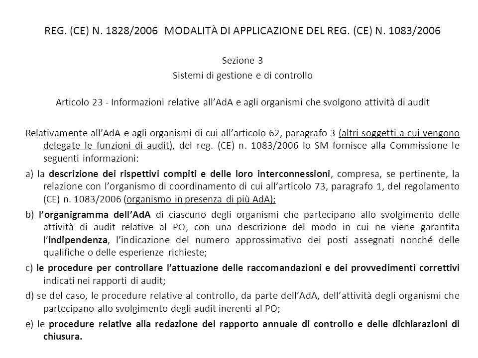 REG. (CE) N. 1828/2006 MODALITÀ DI APPLICAZIONE DEL REG. (CE) N. 1083/2006 Sezione 3 Sistemi di gestione e di controllo Articolo 23 - Informazioni rel