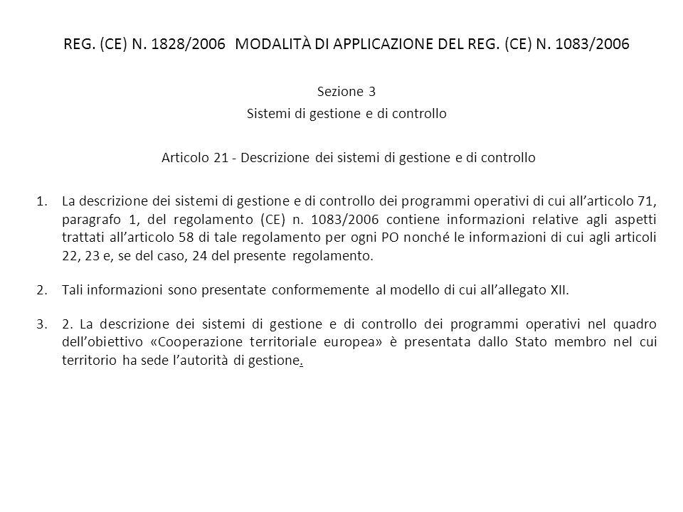 REG. (CE) N. 1828/2006 MODALITÀ DI APPLICAZIONE DEL REG. (CE) N. 1083/2006 Sezione 3 Sistemi di gestione e di controllo Articolo 21 - Descrizione dei