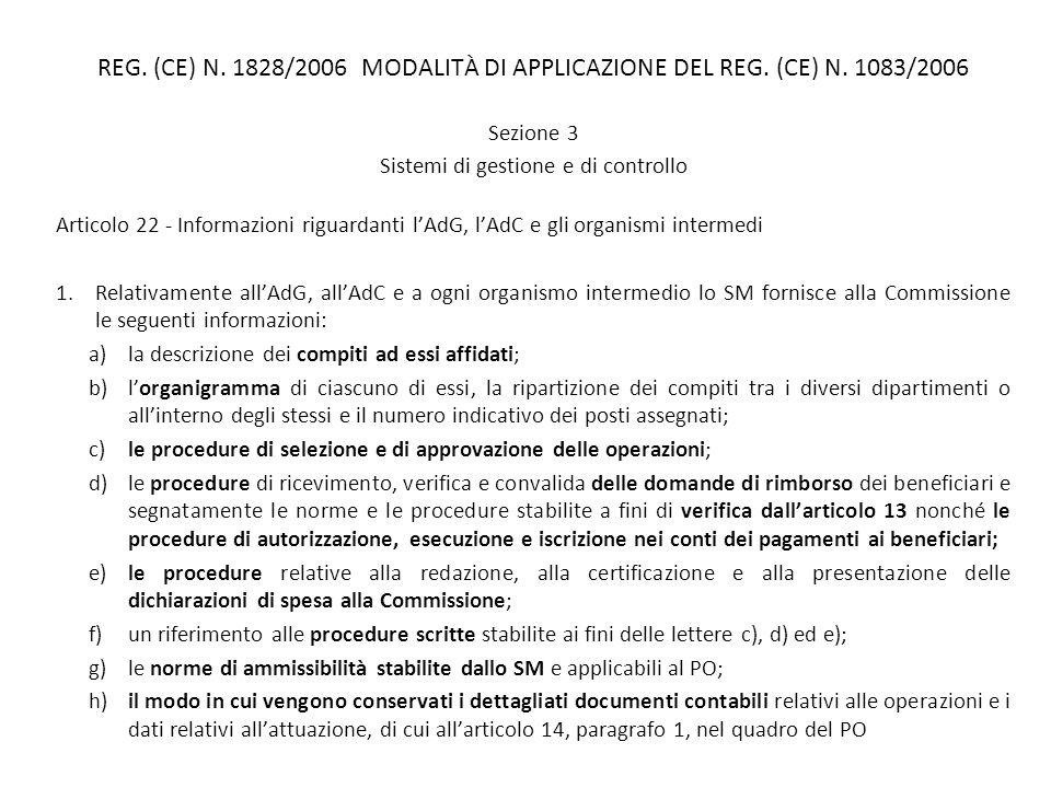 REG. (CE) N. 1828/2006 MODALITÀ DI APPLICAZIONE DEL REG. (CE) N. 1083/2006 Sezione 3 Sistemi di gestione e di controllo Articolo 22 - Informazioni rig