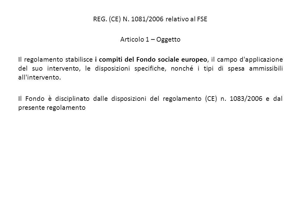 REG. (CE) N. 1081/2006 relativo al FSE Articolo 1 – Oggetto Il regolamento stabilisce i compiti del Fondo sociale europeo, il campo d'applicazione del