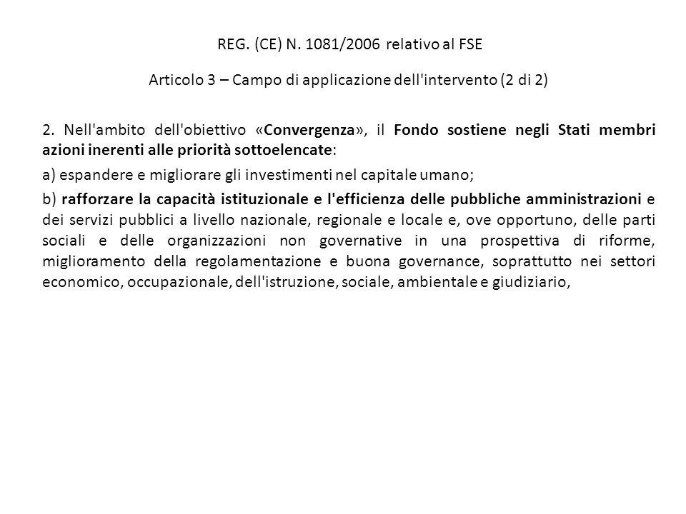 REG. (CE) N. 1081/2006 relativo al FSE Articolo 3 – Campo di applicazione dell'intervento (2 di 2) 2. Nell'ambito dell'obiettivo «Convergenza», il Fon