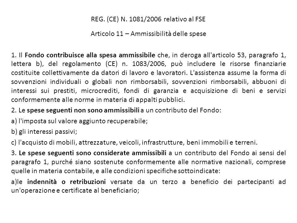 REG. (CE) N. 1081/2006 relativo al FSE Articolo 11 – Ammissibilità delle spese 1. Il Fondo contribuisce alla spesa ammissibile che, in deroga all'arti