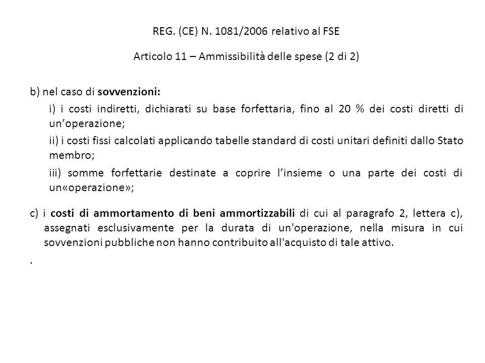 REG. (CE) N. 1081/2006 relativo al FSE Articolo 11 – Ammissibilità delle spese (2 di 2) b) nel caso di sovvenzioni: i) i costi indiretti, dichiarati s