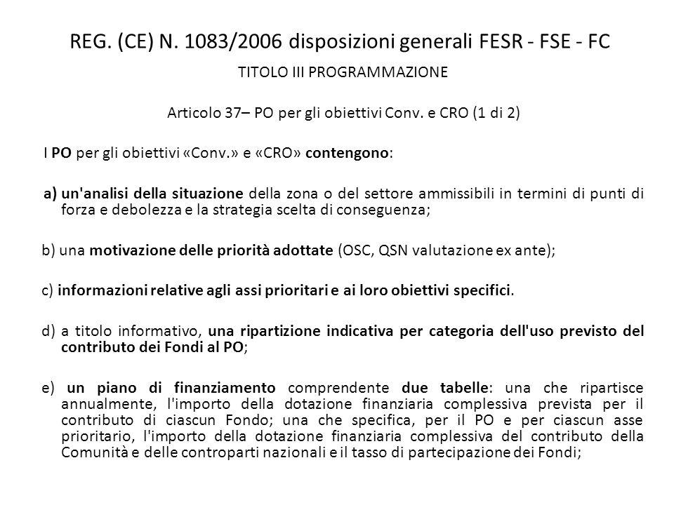 REG. (CE) N. 1083/2006 disposizioni generali FESR - FSE - FC TITOLO III PROGRAMMAZIONE Articolo 37– PO per gli obiettivi Conv. e CRO (1 di 2) I PO per