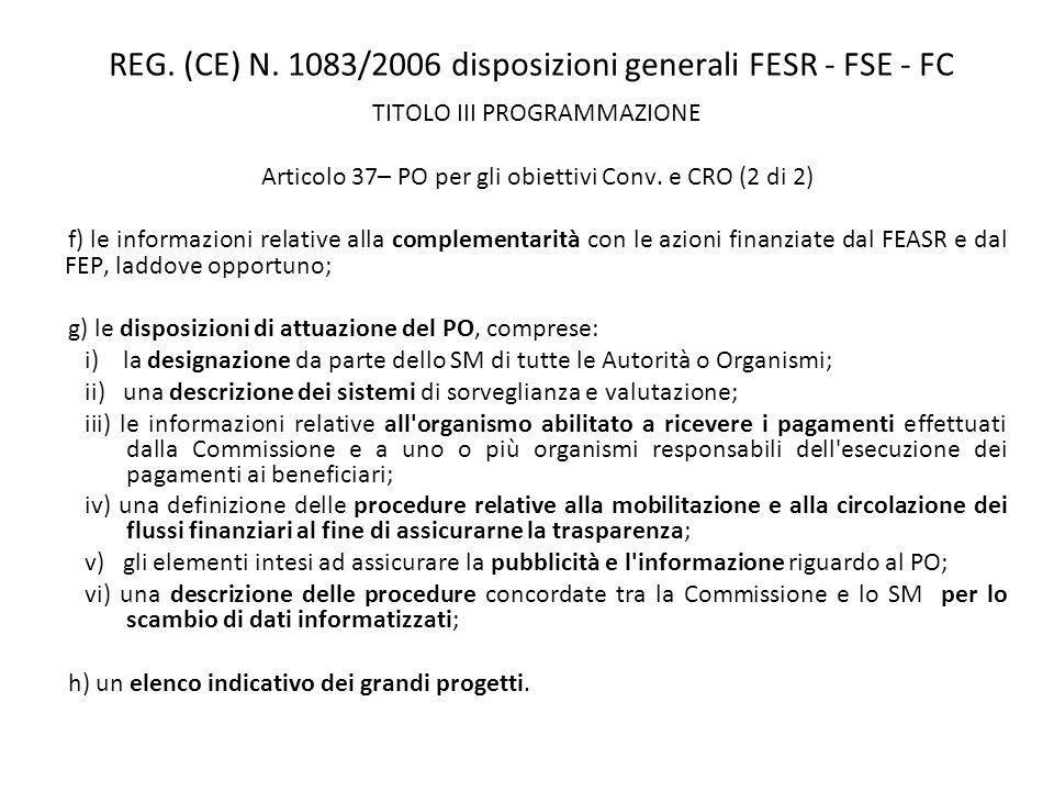 REG. (CE) N. 1083/2006 disposizioni generali FESR - FSE - FC TITOLO III PROGRAMMAZIONE Articolo 37– PO per gli obiettivi Conv. e CRO (2 di 2) f) le in