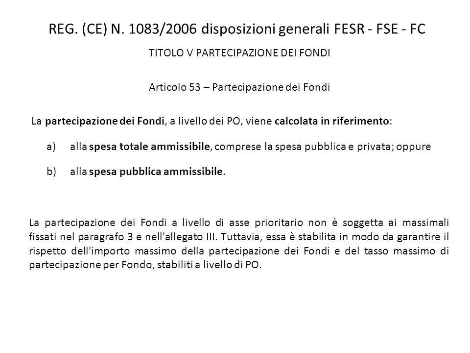 REG. (CE) N. 1083/2006 disposizioni generali FESR - FSE - FC TITOLO V PARTECIPAZIONE DEI FONDI Articolo 53 – Partecipazione dei Fondi La partecipazion