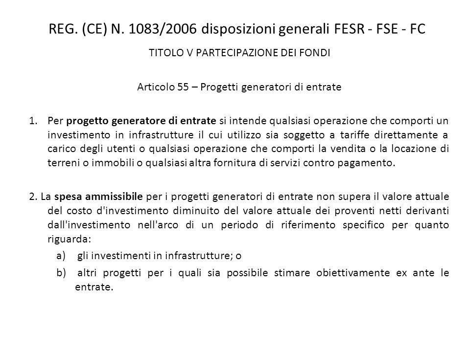 REG. (CE) N. 1083/2006 disposizioni generali FESR - FSE - FC TITOLO V PARTECIPAZIONE DEI FONDI Articolo 55 – Progetti generatori di entrate 1.Per prog