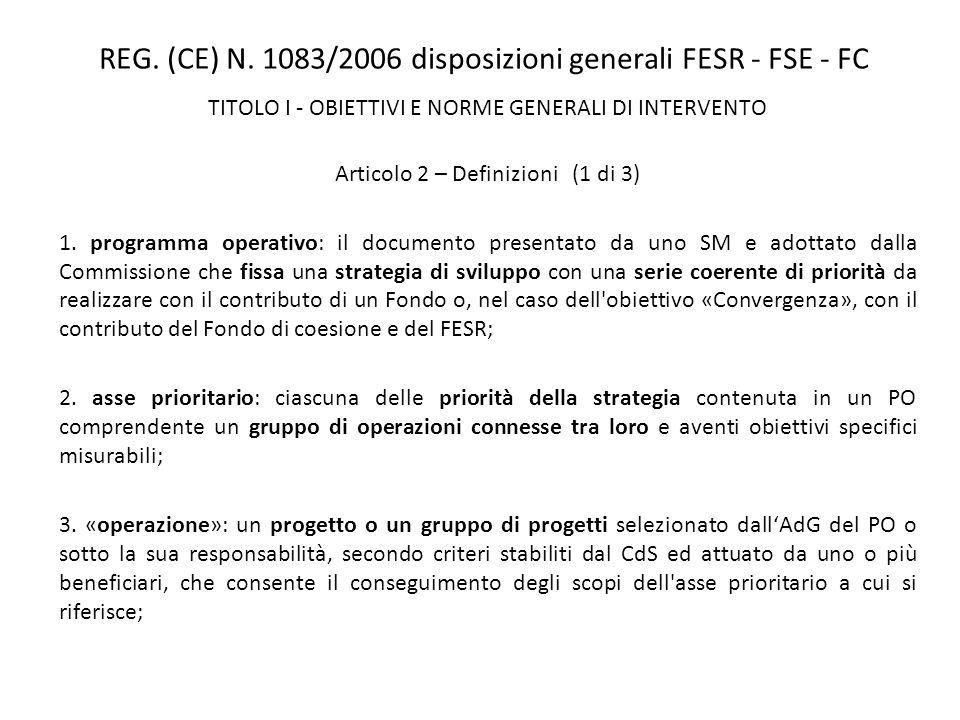 REG. (CE) N. 1083/2006 disposizioni generali FESR - FSE - FC TITOLO I - OBIETTIVI E NORME GENERALI DI INTERVENTO Articolo 2 – Definizioni (1 di 3) 1.