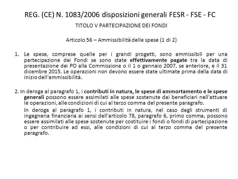 REG. (CE) N. 1083/2006 disposizioni generali FESR - FSE - FC TITOLO V PARTECIPAZIONE DEI FONDI Articolo 56 – Ammissibilità delle spese (1 di 2) 1.Le s