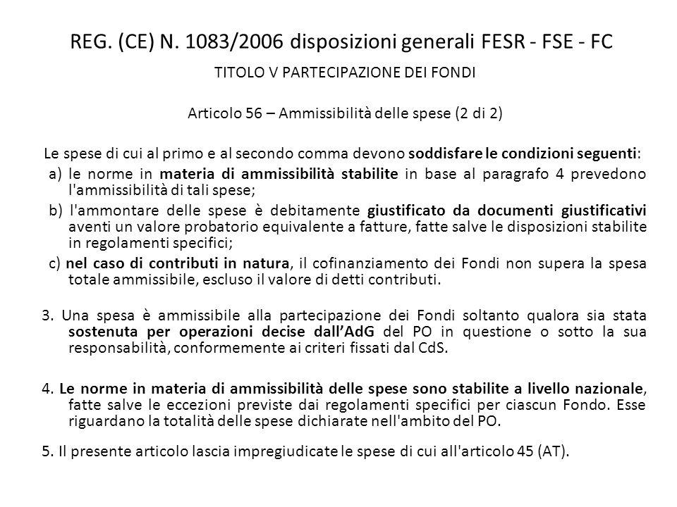 REG. (CE) N. 1083/2006 disposizioni generali FESR - FSE - FC TITOLO V PARTECIPAZIONE DEI FONDI Articolo 56 – Ammissibilità delle spese (2 di 2) Le spe