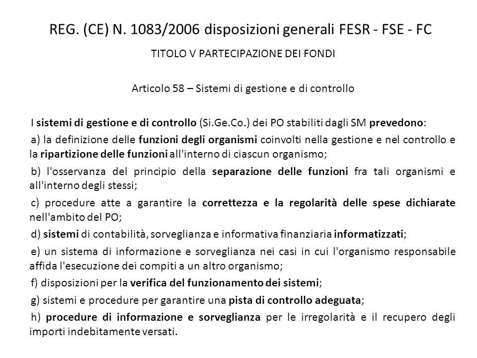 REG. (CE) N. 1083/2006 disposizioni generali FESR - FSE - FC TITOLO V PARTECIPAZIONE DEI FONDI Articolo 58 – Sistemi di gestione e di controllo I sist