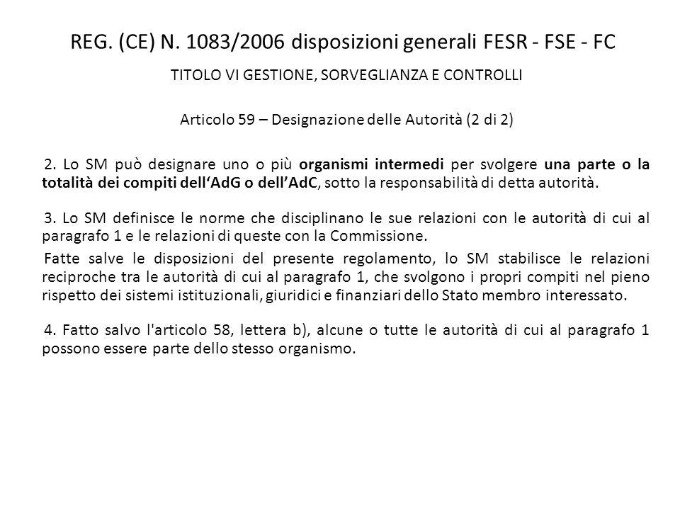 REG. (CE) N. 1083/2006 disposizioni generali FESR - FSE - FC TITOLO VI GESTIONE, SORVEGLIANZA E CONTROLLI Articolo 59 – Designazione delle Autorità (2