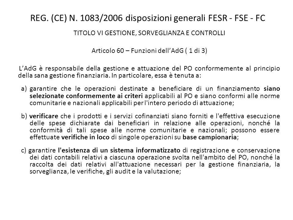 REG. (CE) N. 1083/2006 disposizioni generali FESR - FSE - FC TITOLO VI GESTIONE, SORVEGLIANZA E CONTROLLI Articolo 60 – Funzioni dellAdG ( 1 di 3) LAd