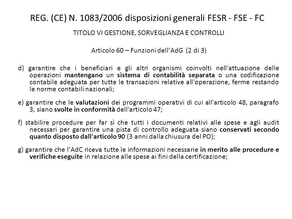 REG. (CE) N. 1083/2006 disposizioni generali FESR - FSE - FC TITOLO VI GESTIONE, SORVEGLIANZA E CONTROLLI Articolo 60 – Funzioni dellAdG (2 di 3) d) g