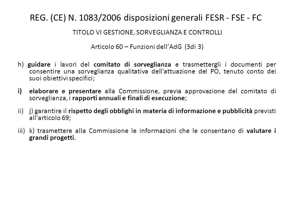 REG. (CE) N. 1083/2006 disposizioni generali FESR - FSE - FC TITOLO VI GESTIONE, SORVEGLIANZA E CONTROLLI Articolo 60 – Funzioni dellAdG (3di 3) h) gu