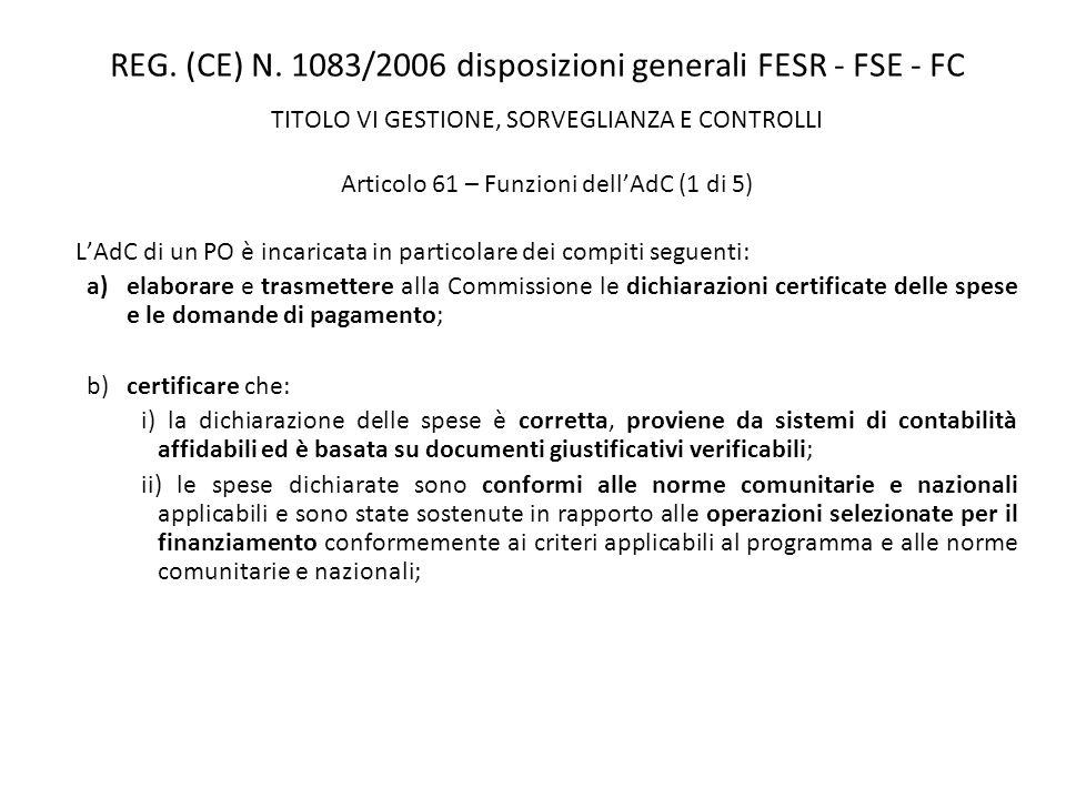 REG. (CE) N. 1083/2006 disposizioni generali FESR - FSE - FC TITOLO VI GESTIONE, SORVEGLIANZA E CONTROLLI Articolo 61 – Funzioni dellAdC (1 di 5) LAdC