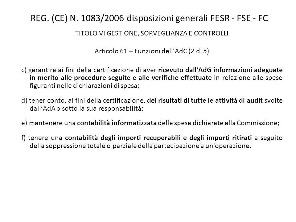 REG. (CE) N. 1083/2006 disposizioni generali FESR - FSE - FC TITOLO VI GESTIONE, SORVEGLIANZA E CONTROLLI Articolo 61 – Funzioni dellAdC (2 di 5) c) g