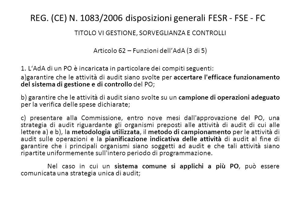 REG. (CE) N. 1083/2006 disposizioni generali FESR - FSE - FC TITOLO VI GESTIONE, SORVEGLIANZA E CONTROLLI Articolo 62 – Funzioni dellAdA (3 di 5) 1. L