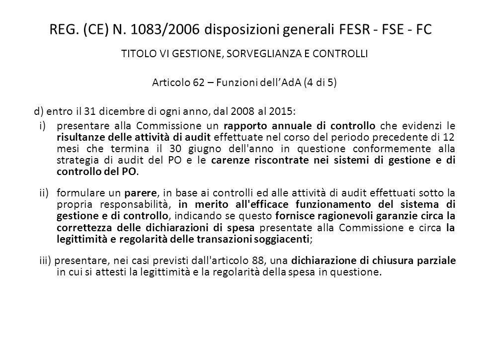 REG. (CE) N. 1083/2006 disposizioni generali FESR - FSE - FC TITOLO VI GESTIONE, SORVEGLIANZA E CONTROLLI Articolo 62 – Funzioni dellAdA (4 di 5) d) e