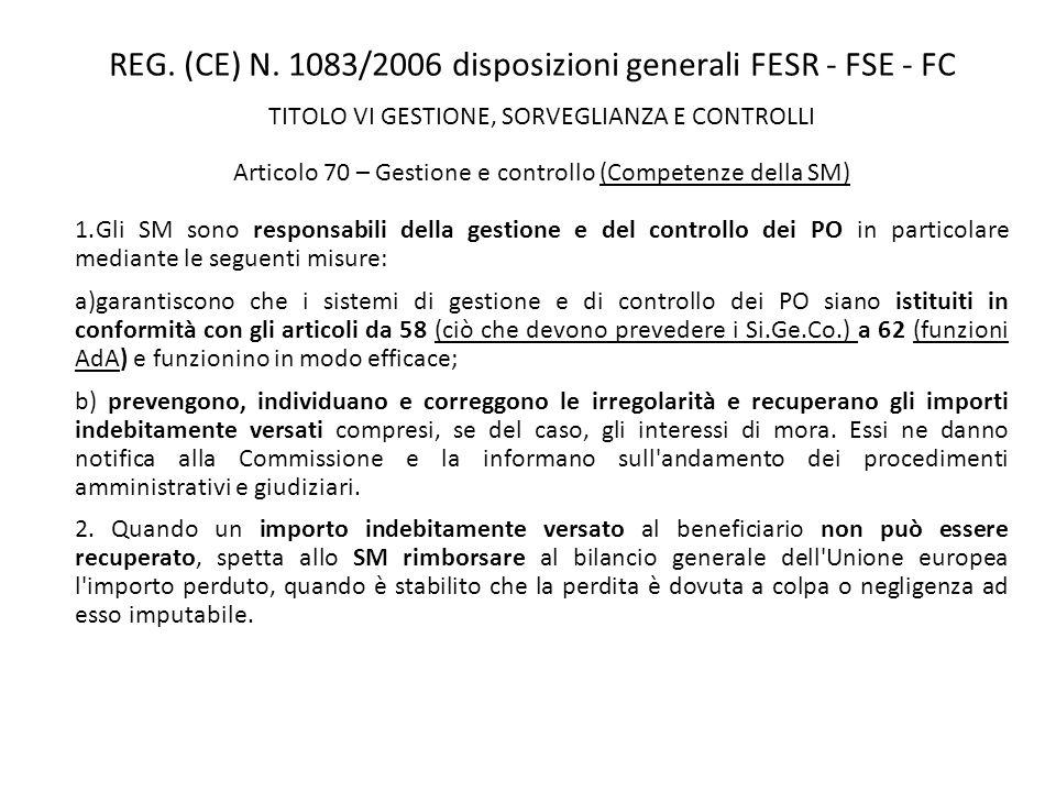 REG. (CE) N. 1083/2006 disposizioni generali FESR - FSE - FC TITOLO VI GESTIONE, SORVEGLIANZA E CONTROLLI Articolo 70 – Gestione e controllo (Competen
