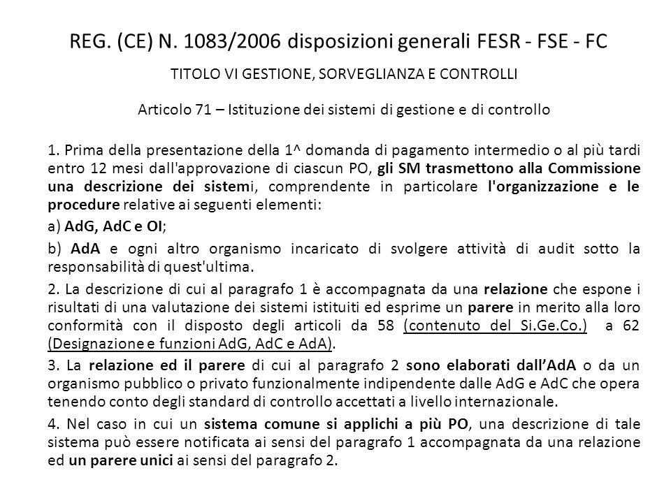 REG. (CE) N. 1083/2006 disposizioni generali FESR - FSE - FC TITOLO VI GESTIONE, SORVEGLIANZA E CONTROLLI Articolo 71 – Istituzione dei sistemi di ges