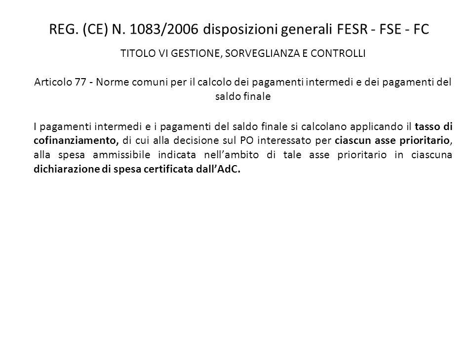 REG. (CE) N. 1083/2006 disposizioni generali FESR - FSE - FC TITOLO VI GESTIONE, SORVEGLIANZA E CONTROLLI Articolo 77 - Norme comuni per il calcolo de