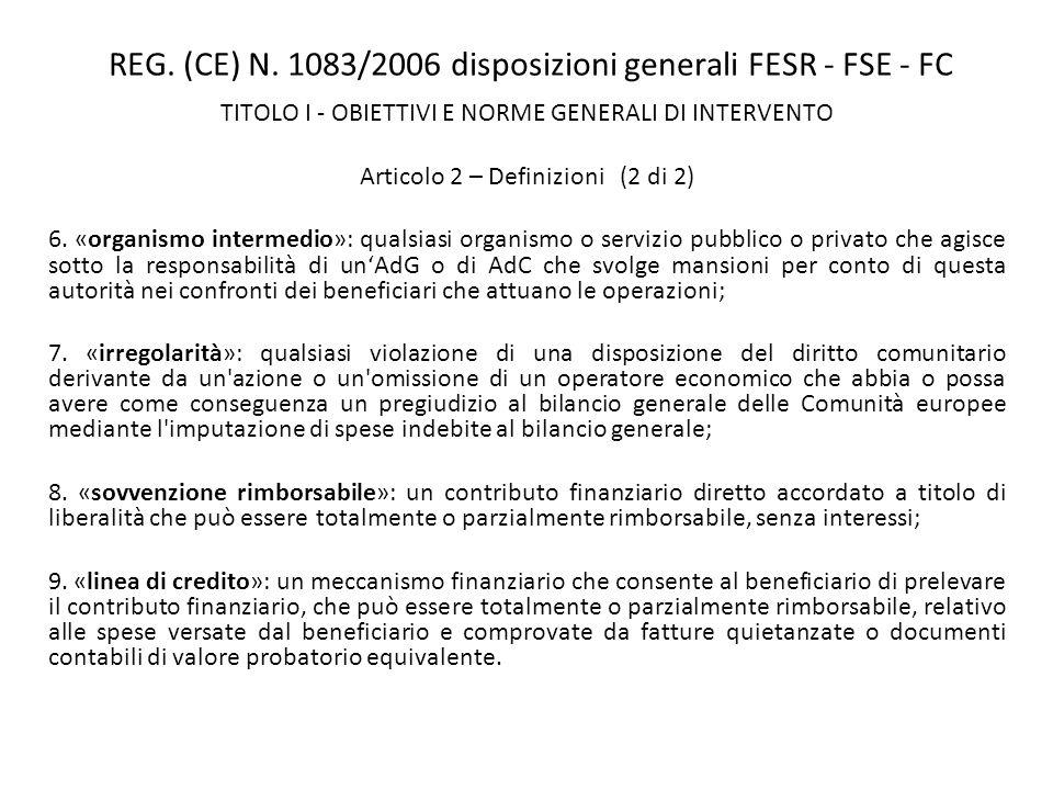 REG. (CE) N. 1083/2006 disposizioni generali FESR - FSE - FC TITOLO I - OBIETTIVI E NORME GENERALI DI INTERVENTO Articolo 2 – Definizioni (2 di 2) 6.