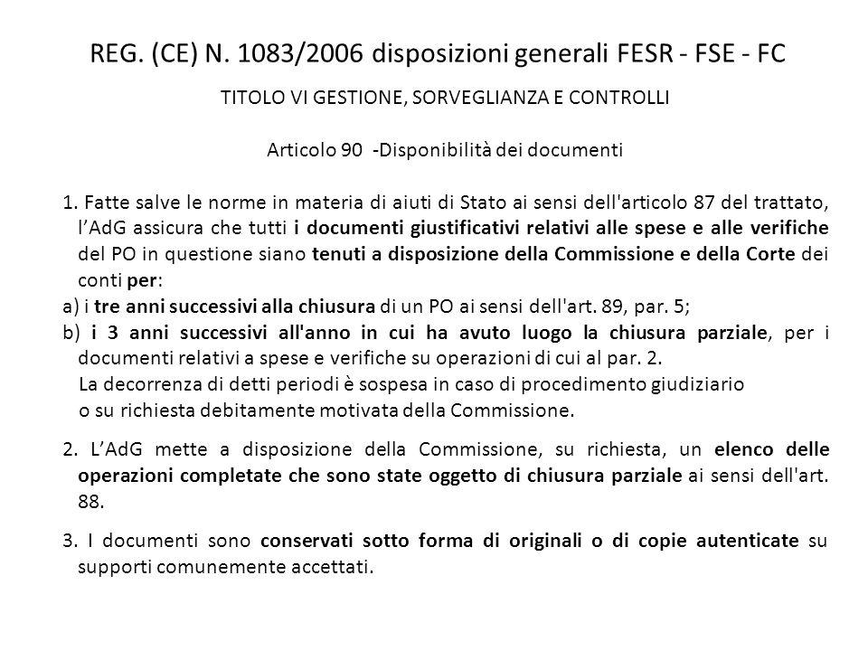REG. (CE) N. 1083/2006 disposizioni generali FESR - FSE - FC TITOLO VI GESTIONE, SORVEGLIANZA E CONTROLLI Articolo 90 -Disponibilità dei documenti 1.